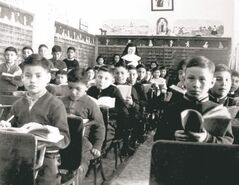 A classroom at the St. Joseph's Residential School in Cross Lake in 1951: 'For aboriginals, human rights has not been a panacea.'