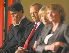 Candidates Justin Trudeau (from left), George Takach, Joyce Murray and Karen McCrimmon vie for leadership of the Liberals, a party once considered to be the natural governing party, but now third in Parliament.