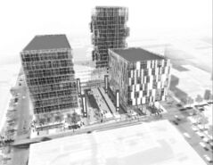 A conceptual drawing shows the three new highrises originally planned near the convention centre.