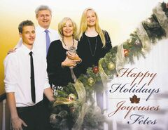 Prime Minister Stephen Harper is pictured with his son Ben, wife Laureen, holding Charlie the chinchilla, and daughter Rachel on their 2013 holiday card seen in Ottawa on Wednesday, Nov. 20, 2013. THE CANADIAN PRESS/Sean Kilpatrick