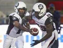 Quarterback Henry Burris (left) and running back Chevon Walker will have a lot to say about whether the Redblacks will have a successful debut.