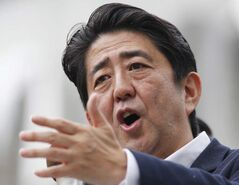 Japanese Prime Minister Shinzo Abe delivers a speech during an upper house election campaign rally in Tokyo.