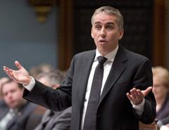 Quebec Finance Minister Nicolas Marceau responds to Opposition questions at the legislature in Quebec City Thursday.