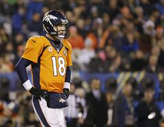 Denver Broncos' Peyton Manning looks on during the second half of the NFL Super Bowl XLVIII football game against the Seattle Seahawks Sunday, Feb. 2, 2014, in East Rutherford, N.J. (AP Photo/Matt Slocum)