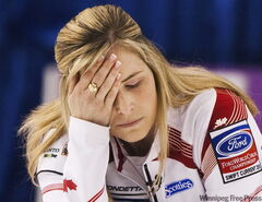 Canada skip Jennifer Jones reacts after a shot while playing against Scotland during playoff action at the 2010 World Women's Curling Championships in Swift Current, Sask., on Saturday, March 27, 2010.