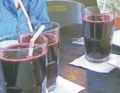 Sweet purple corn chicha morada at T'anta restaurant in Lima, Peru