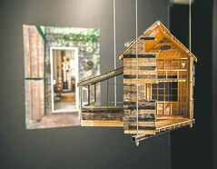 A hanging model of an innovative cabin design.