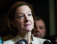 Alberta Premier Alison Redford meets with media following a meeting of the provincial PC Party executive in Calgary, Alta., Saturday, March 15, 2014. CBC News is reporting that Alberta's auditor general found