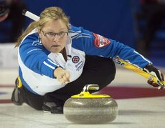 British Columbia skip Kelly Scott releases her rock during sixth-draw curling action against Ontario at the Scotties Tournament of Hearts Monday, in Kingston, Ont.
