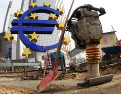A shovel and a jackhammer stand near the Euro sculpture in front of the European Central Bank in Frankfurt, Germany, Wednesday, March 7, 2012. THE CANADIAN PRESS/AP, Michael Probst