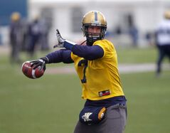 The Winnipeg Blue Bombers Alex Brin' practises at the stadium.