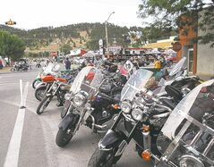 Motorcycles line the streets at the 72nd annual Sturgis Motorcycle Rally.
