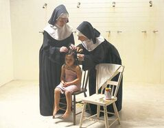 From left, Maggie Nagle as Sister Theresa, Alicia Hamelin as Lyna and Rebecca Gibson as Sister Mary.