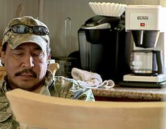 Clint Beardy in his home on Lake St. Martin First Nation.