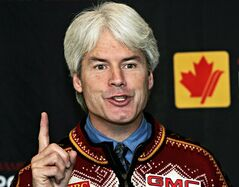 Ken Read, president of Alpine Canada, speaks to the media during a news conference in Vancouver Wednesday October 26, 2005. Read has stepped down as director of Canada's Own the Podium winter sports program. THE CANADIAN PRESS/Chuck Stoody