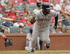 San Diego Padres' Abraham Almonte tosses his bat after hitting a two-RBI single in the ninth inning of a baseball game against the St. Louis Cardinals, Sunday, Aug. 17, 2014, in St. Louis. The Cardinals won 7-6. (AP Photo/Tom Gannam)