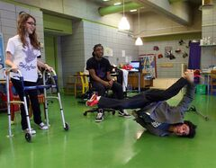 Luca Patuelli teaches some breakdancing moves to students at Joseph-Charbonneau secondary school in Montreal.