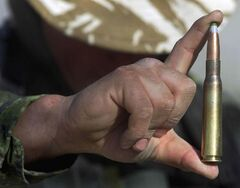 A .50-calibre bullet can pierce a lightly armoured vehicle or military aircraft.