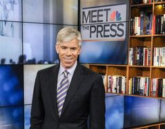 This Feb. 24, 2013 photo released by NBC News shows moderator David Gregory on the set of