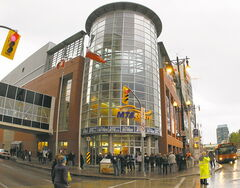 The Shark Club is located across the street from the MTS Centre.