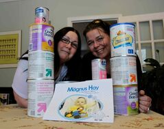 Susan Krepart (right) raised 885.5 pounds of baby formula with the Magnus Hay Formula Drive, which was inspired in part by Jennifer Hay (left), who was motivated to give in honour of her infant son, who died just a few months after his birth.
