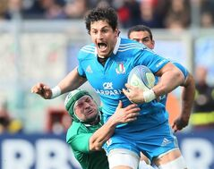 Ireland's Rory Best, tries to stop Italy's Alessandro Zanni during a Six Nations rugby match between Italy and Ireland, at the Rome Olympic stadium, Saturday, March 16, 2013. (AP Photo/Paolo Giovannini)