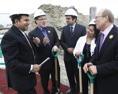 Nizar Mawani, (from left) Coun. Scott Fielding, Anupam Kothari, Coun. Devi Sharma and Mayor Sam Katz at the Hampton Inn groundbreaking Monday.
