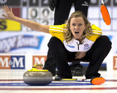 Manitoba skip Chelsea Carey calls a shot during her match against Nova Scotia at the Scotties Tournament of Hearts Monday in Montreal.