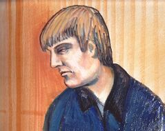 In this artist's sketch, Travis Baumgartner appears in an Edmonton courtroom, Thursday, June 21, 2012. Baumgartner, an armoured car guard accused of gunning down three of his crewmates during a robbery at the University of Alberta, has been forbidden to have any contact with a long list of people, including his parents. THE CANADIAN PRESS/Amanda McRoberts