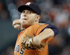 Houston Astros' Brad Peacock delivers a pitch against the Detroit Tigers in the first inning of a baseball game Friday, June 27, 2014, in Houston. (AP Photo/Pat Sullivan)