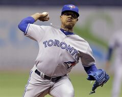 Toronto Blue Jays starting pitcher Marcus Stroman delivers to the Tampa Bay Rays during the first inning of a baseball game Wednesday, Sept. 3, 2014, in St. Petersburg, Fla. (AP Photo/Chris O'Meara)