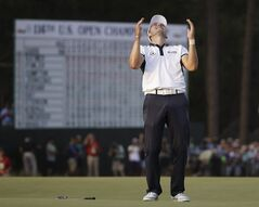 Martin Kaymer, of Germany celebrates after winning the U.S. Open golf tournament in Pinehurst, N.C., Sunday, June 15, 2014. (AP Photo/David Goldman)