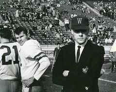 Winnipeg Blue Bomber coach Bud Grant (right) on the sidelines with Bomber quarterback Ken Ploen in the 1962 Grey Cup game.
