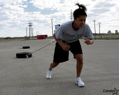 Pulling a tire is only a small part of Taneesha Greaves's training regimen.