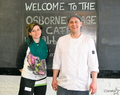 Leighton Fontaine (right) and Kaitlin outside the new Osborne Village Café.