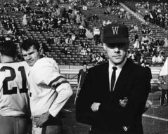 Winnipeg Blue Bomber coach Bud Grant (Right) on the sidelines with Bomber Quarterback Ken Kenny Ploen in the 1962 Grey Cup game.