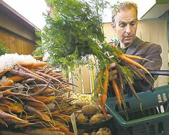 Jeff Golfman, president of Prairie Pulp and Paper Inc., buys fruit and vegetables at St. Leon Gardens on St. Mary's Road.