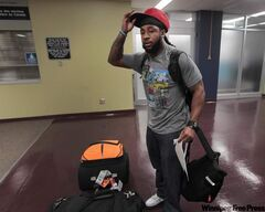 Jonathan Hefney arrives at the Richardson International airport Tuesday afternoon after getting cut by the Detroit Lions. After clearing medicals today he is expected to join the Winnipeg Blue Bombers practice and travel with the team to B.C.