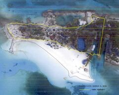 An aerial photo shows about 6.1 acres of the property, commonly known as Nygard Cay.  According to the Coalition of Protect Clifton Bay, the yellow line shows the property boundary as set out in a 1984 conveyance, while the blue line shows Crown land reclaimed from the sea by Peter Nygard's activities.