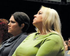 Tara Creighton (left) spoke of her sister, Jennifer, while Debbie Scromeda shared her daughter Shannon's story.