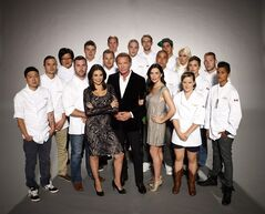 Contestants from season three of Top Chef Canada pose with the host and judges in this handout photo.
