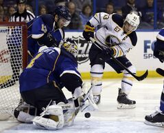 St. Louis Blues goalie Brian Elliott (1) makes a save on a shot by Buffalo Sabres' Tyler Ennis (63) as Blues' Carlo Colaiacovo watches during the third period of an NHL hockey game on Thursday, April 3, 2014, in St. Louis. A person familiar with the agreement confirmed to The Associated Press early Thursday that the Sabres have reached a deal to re-sign Ennis to a five-year contract worth about $23 million.THE CANADIAN PRESS/AP/Jeff Roberson