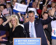Republican presidential candidate, former Massachusetts governor Mitt Romney and his wife Ann wave to supporters in on the campaign trail in 2012.