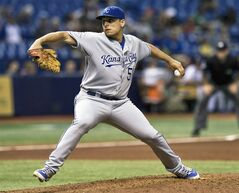 Kansas City Royals starter Jason Vargas pitches against the Tampa Bay Rays during the fourth inning of a baseball game Tuesday, July 8, 2014 in St. Petersburg, Fla. (AP Photo/Steve Nesius)
