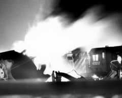 A runaway train that collided with a propane tanker caused tremendous explosions at CP Rail yards in Winnipeg on Dec. 13, 1982.