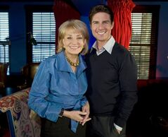 FILE - In this image released by ABC, Barbara Walters poses with Tom Cruise during an interview for her annual special,