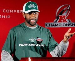 New York Jets cornerback Darrelle Revis gestures during a news conference after NFL football practice, Wednesday, Jan. 19, 2011, in Florham Park, N.J. The Jets are scheduled to face the Pittsburgh Steelers in the AFC Championship game on Sunday, Jan. 23, in Pittsburgh. (AP Photo/Mel Evans)