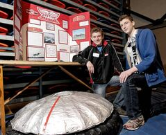 Mennonite Brethren Collegiate Institute's Luke Thiessen (left) and Brandon Dyck with their Avro display.