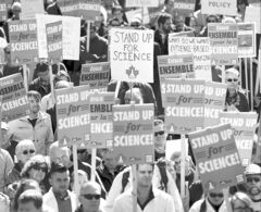 Scientists rally on Parliament Hill in Ottawa on Monday