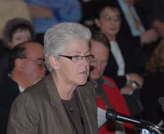 Gina McCarthy speaks during a public hearing on the Broadwater Energy plan for a liquefied natural gas terminal in Long Island Sound, Tuesday, Jan. 9, 2007, in New London, Conn. U.S. President Barack Obama is poised to nominate his